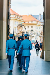 Changing of the at Prague Castle guard in Prague, Czech Republic