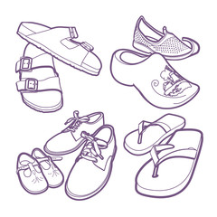 Various adult and childrens shoes including, clogs, sandles, thongs and casual shoes.