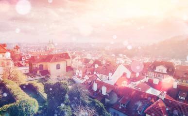 beautiful houses Czech Republic. Photo greeting card. Bokeh ligh