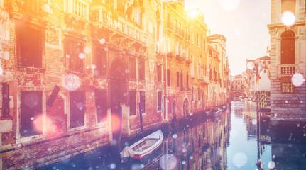 Grand canal and architecture - bridge. Italy. Venice. Photo gree