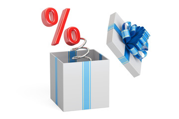 Holidays Discount and Sale concept. Percent Symbol Jack in the Gift Box, 3D rendering