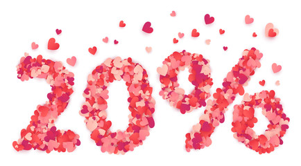 20 percent vector number made from pink and red confetti hearts