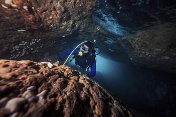 Diver exploring a reef, Adriatic Sea, Dalmatia, Croatia