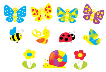 set of cute cartoon springtime nature objects : flowers, butterflies, bee, / joyful collection of spring vectors for children