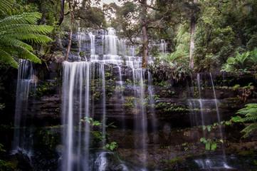 Closeup of Russell Falls in Mount Field National Park, Tasmania, Australia