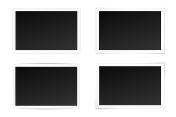 Vector set of curved photo frames with various shadows. Mock up of photos.