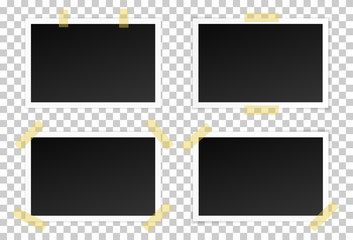 Vector set of black photo frames with various shadows. Glued with adhesive tape mock up of photo