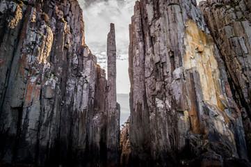 Cape Pillar from the sea in Tasman National Park, Australia