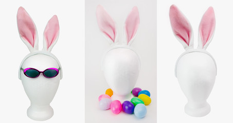 Easter styrofoam mannequin head decorations with sunglasses, colorful plastic easter eggs and furry pink bunny ears. Isolated.