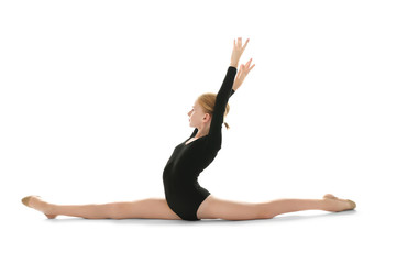 Aluminium Prints Gymnastics Young girl doing gymnastic exercise, isolated on white