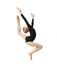 Young girl doing gymnastics, isolated on white