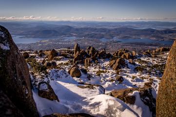 Snow in winter on top of Mt. Wellington with view on Hobart, Tasmania, Australia