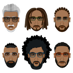 Hipsters bearded african men with different hairstyles, mustaches, beards isolated on white background.