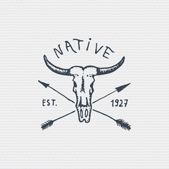 vintage engraved badge, label with buffalo skull, hand drawn old logo