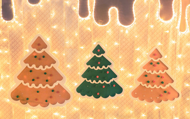 Decorative layout of christmas trees with lights.