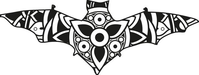 Vector illustration of a mandala bat silhouette