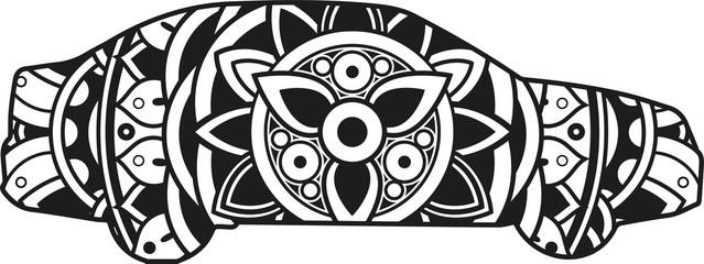Vector illustration of a mandala car silhouette