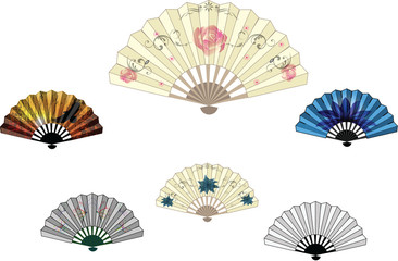 Set of colorful fans
