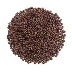 Roasted coffee beans on white.