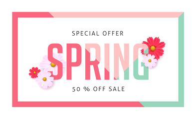 spring 01Spring sale background with beautiful colorful flower. Vector illustration.banners.Wallpaper.flyers, invitation, posters, brochure, voucher discount.