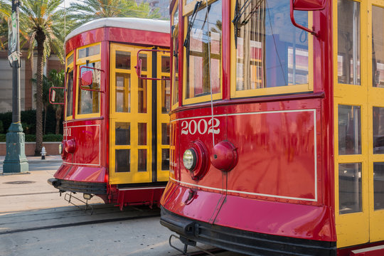 Close-up of Two New Orleans Streetcars