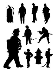 Fireman gesture silhouette. Good use for symbol, logo, web icon, mascot, sign, or any design you want.