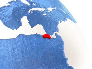 Costa Rica on elegant globe