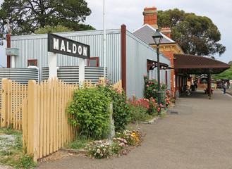 MALDON, VICTORIA, AUSTRALIA - October 16, 2015: The historic Maldon Railway Station (1884) conducts tourist steam train journeys to the Castlemaine Railway Station