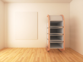 Mock-up posters with shelf design on empty room