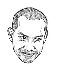 Drawing of smiling asian male face on white