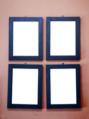 Photo or picture frames on vintage colorful wall