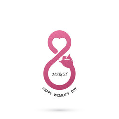 Creative 8 March logo vector design with international women's day icon.Women's day symbol.Minimalistic design for international women's day concept.