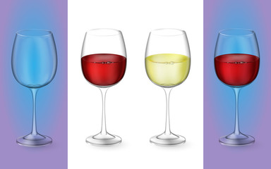 3d realistic vector illustration. Transparent isolated wineglass with red and white wine. Glasses with alcoholic drinks.