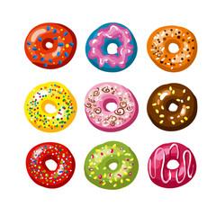 Set of tasty donuts. Vector Illustration.