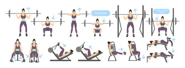 Legs workout for women with machines. All kinds of exercises as squats with weights, smith machine and more