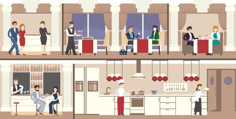 Restaurant interior set. Luxury restaurant with visitors, waiters and kitchen.