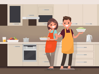 Husband and wife are preparing together. Man and woman in the kitchen. Vector illustration