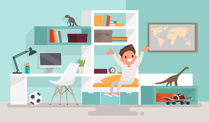 Boy woke up and sits on the stretching bed. Good morning. Vector illustration in a flat style