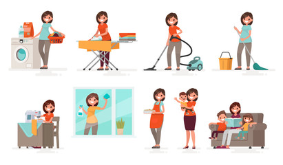 Set of affairs woman housewife. Mother washes, irons, vacuums, cleans, sews, cooks, brings up children