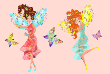 vector illustration with  beautiful colorful fairies flying with butterflies