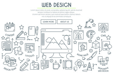 Web Design Illustration Thin Line