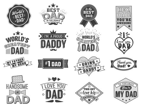 Isolated Happy fathers day quotes on the white background. Dad congratulation label, badge vector collection. Mustache, hat, stars elements for your design