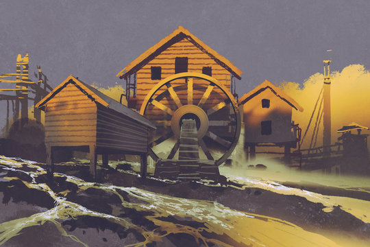 wooden house with a waterwheel on mountain rock at sunset,illustration painting