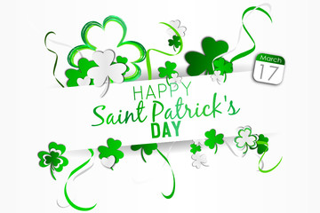 happy saint patrick's day - 17 march - white color