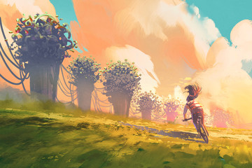 cyclist riding a bike in a field with fantasy tree and colorful sky,illustration painting