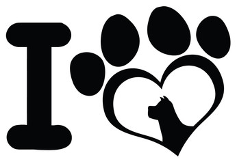 I Love With Black Heart Paw Print With Claws And Dog Head Silhouette Logo Design. Illustration Isolated On White Background
