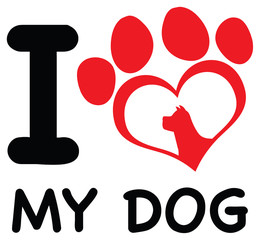 Red Heart Paw Print With Claws And Dog Head Silhouette Logo Design. Illustration Isolated On White Background With Text I love My Dog