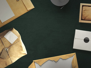 Workspace composed of postal parcel with envelope