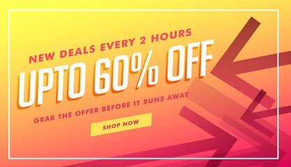 deals and discount banner and voucher design with arrow style