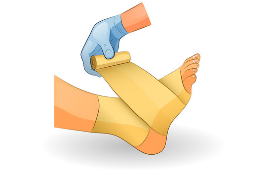 the bandage on the foot
